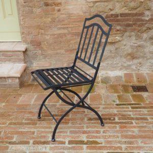 sedia pieghevole ferro battuto