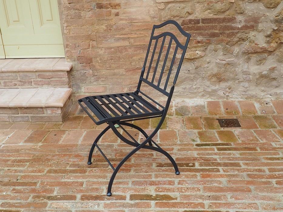 Sedie In Ferro Battuto Pieghevoli : Sedia pieghevole in ferro battuto capalbio